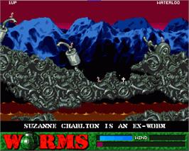In game image of Worms on the Commodore Amiga.