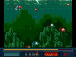 In game image of X-Out on the Commodore Amiga.