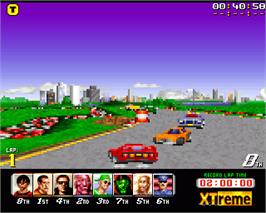 In game image of XTreme Racing on the Commodore Amiga.