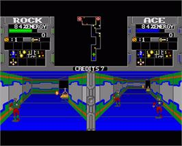 In game image of Xybots on the Commodore Amiga.