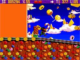 In game image of Zool on the Commodore Amiga.