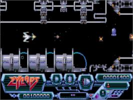 In game image of Zynaps on the Commodore Amiga.
