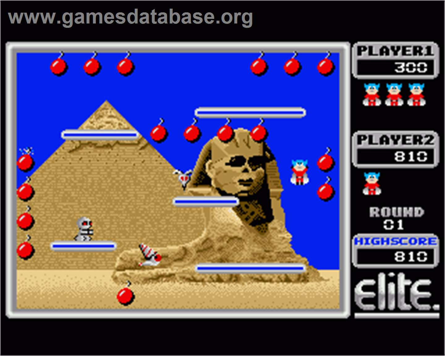 In game image of Bomb Jack on the Commodore Amiga.