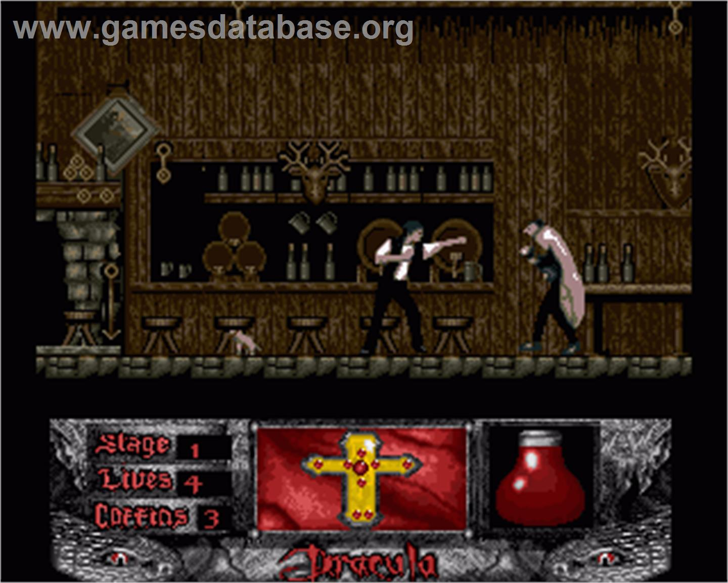 In game image of Bram Stoker's Dracula on the Commodore Amiga.