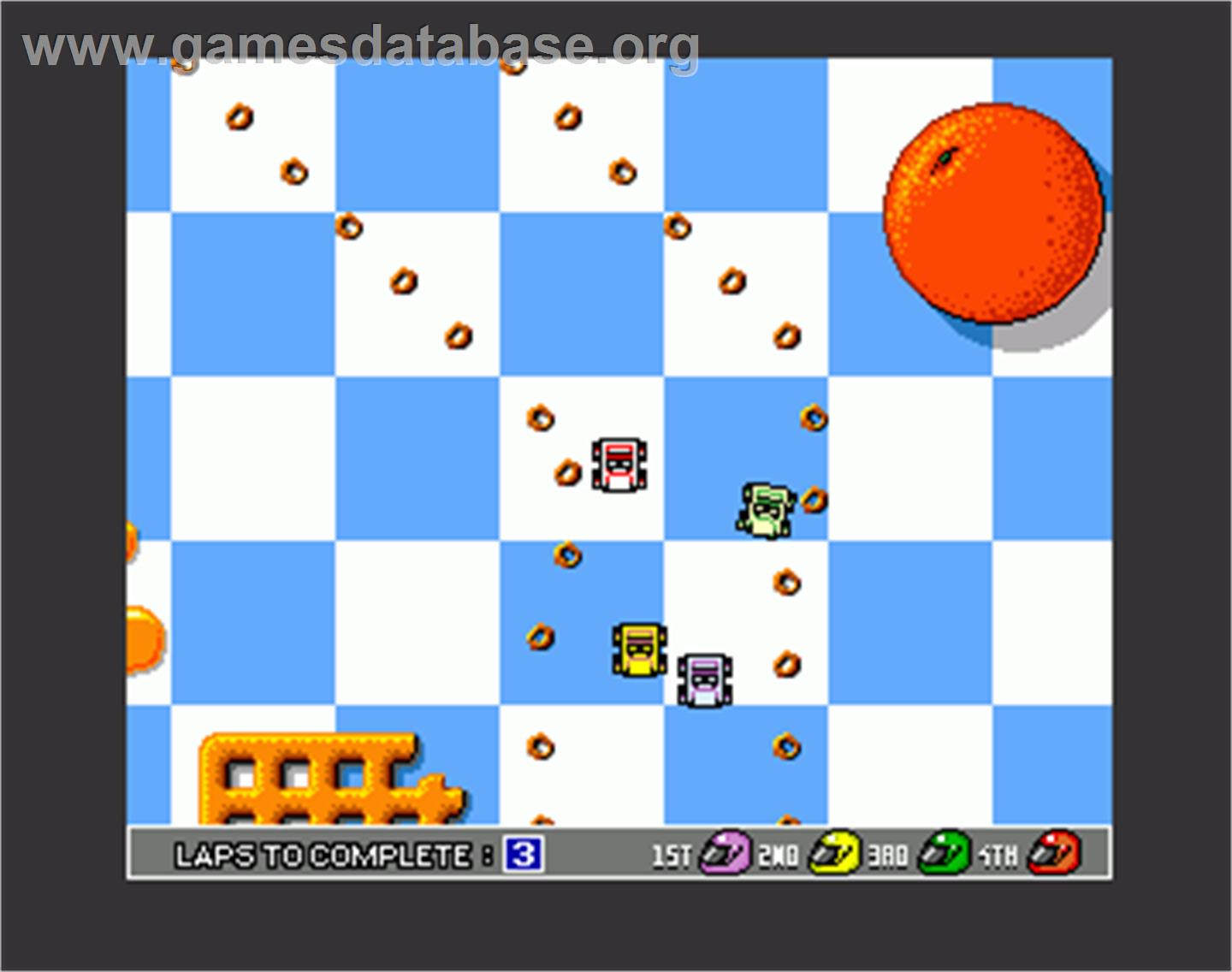 In game image of micro machines on the commodore amiga