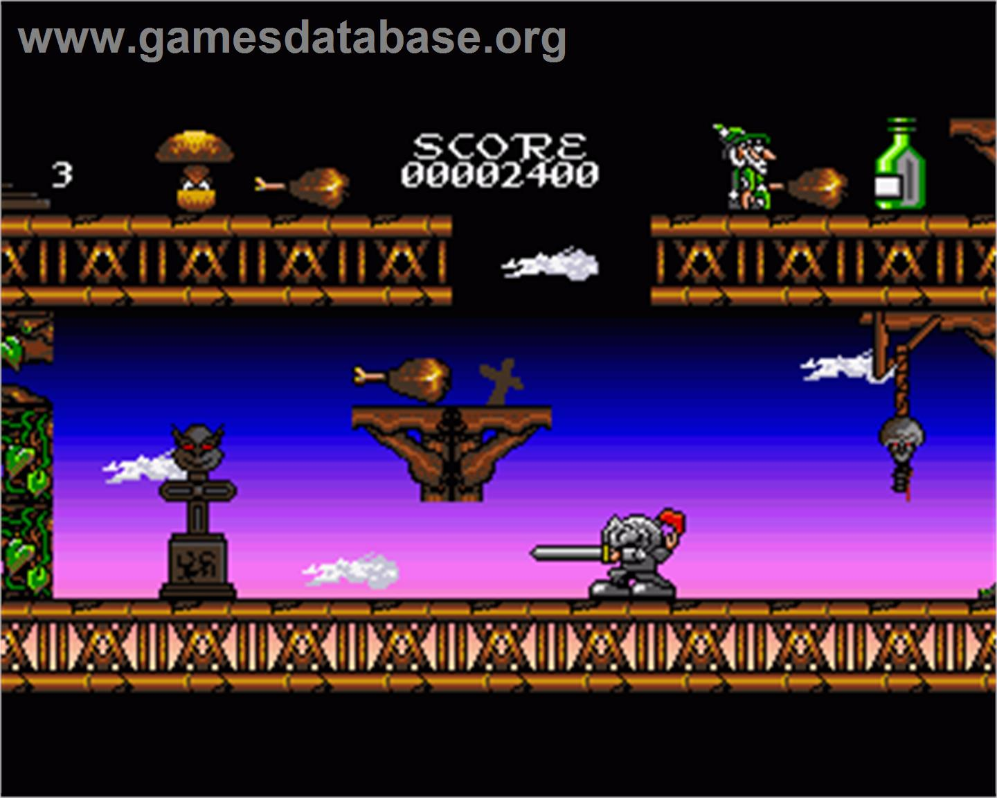 In game image of Quest of Agravain on the Commodore Amiga.