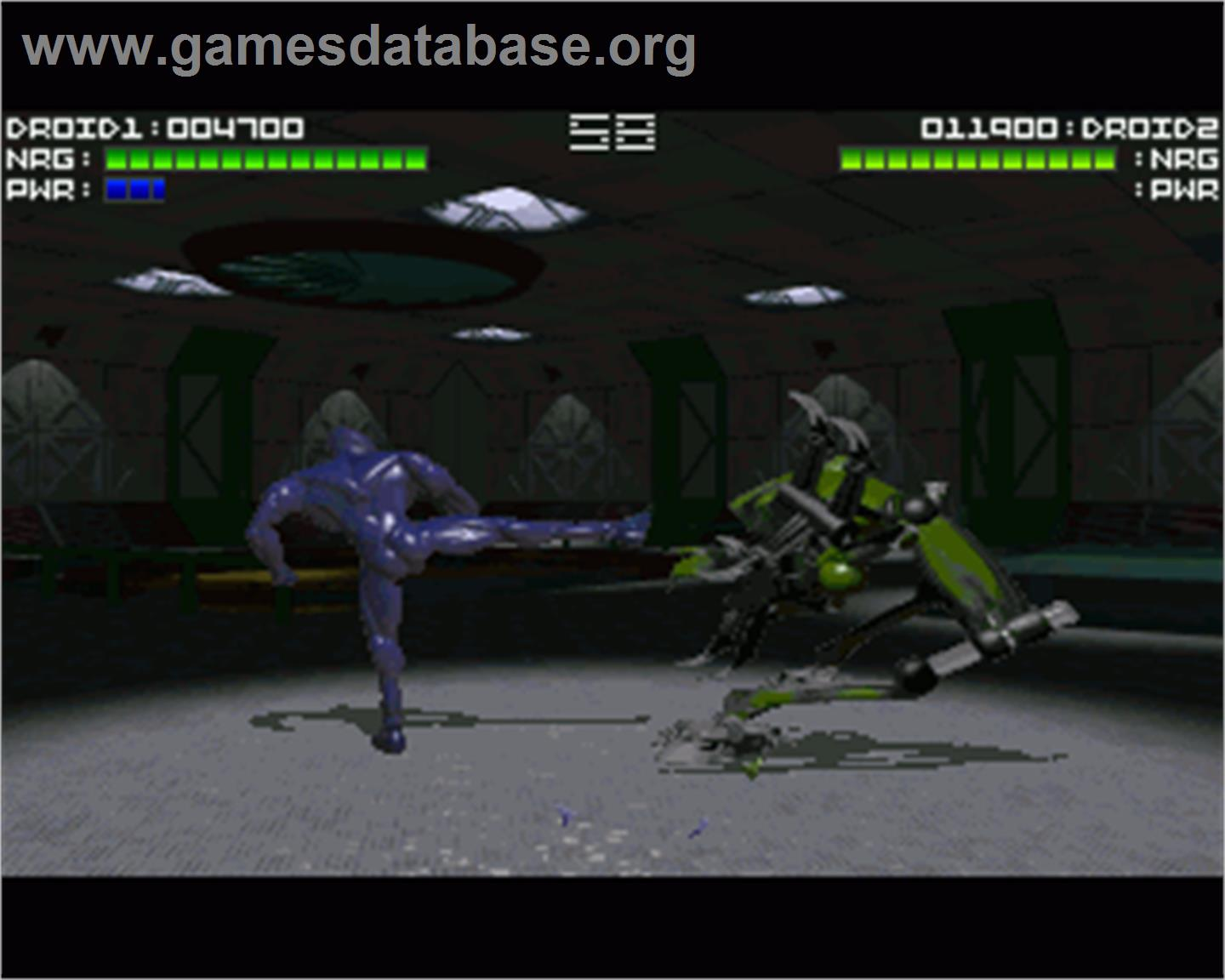 In game image of Rise of the Robots on the Commodore Amiga.