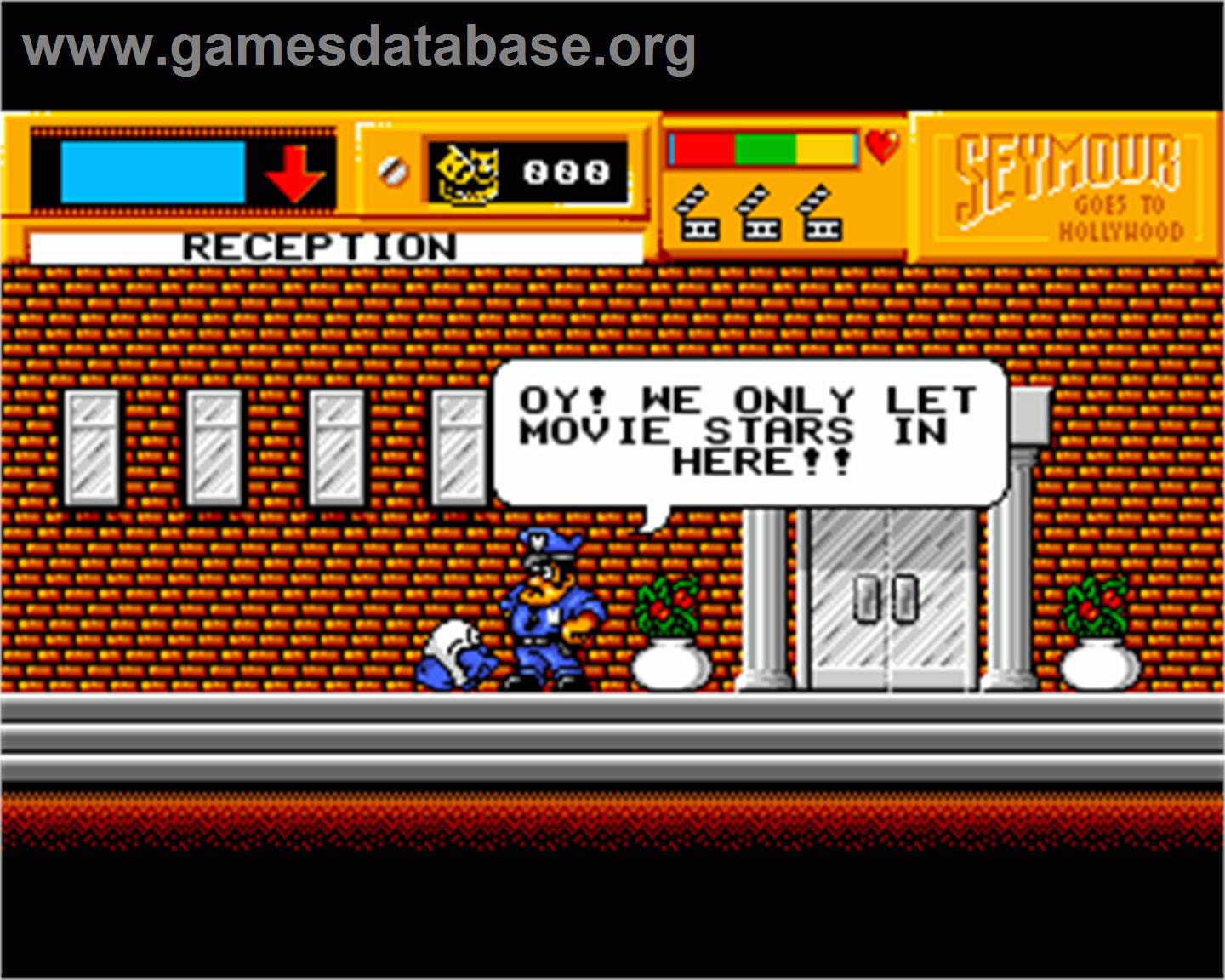 In game image of Seymour Goes to Hollywood on the Commodore Amiga.