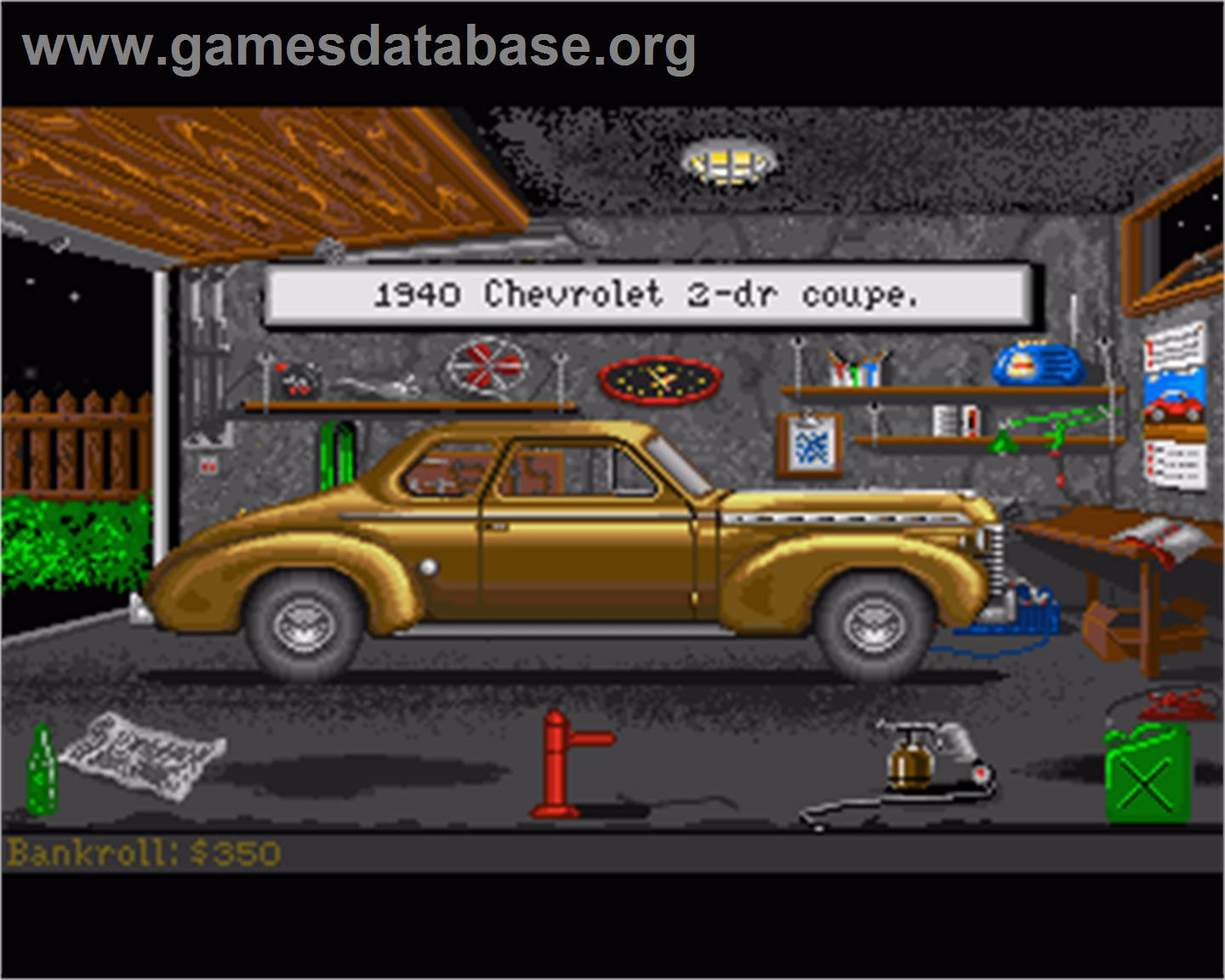 In game image of Street Rod on the Commodore Amiga.
