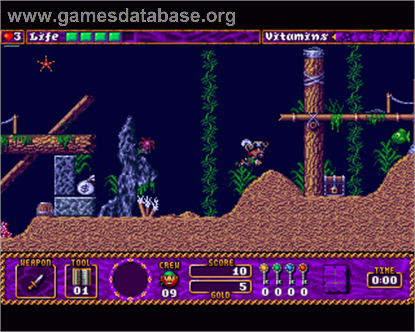 In game image of Traps 'n' Treasures on the Commodore Amiga.
