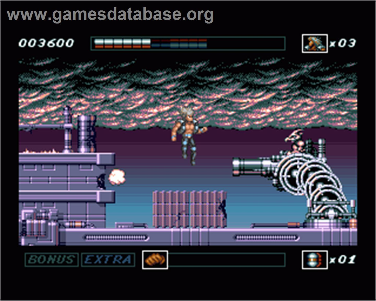 In game image of Wolfchild on the Commodore Amiga.