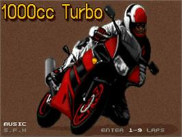 Title screen of 1000cc Turbo on the Commodore Amiga.