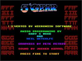 Title screen of 5th Gear on the Commodore Amiga.