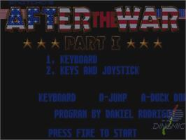 Title screen of After the War on the Commodore Amiga.