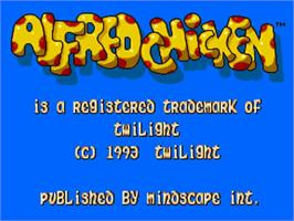 Title screen of Alfred Chicken on the Commodore Amiga.