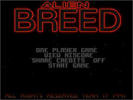 Title screen of Alien Breed: Tower Assault on the Commodore Amiga.