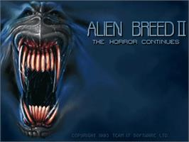 Title screen of Alien Breed II: The Horror Continues on the Commodore Amiga.