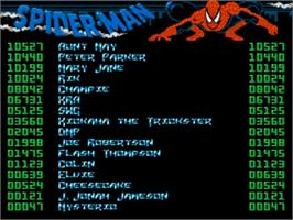 Title screen of Amazing Spider-Man on the Commodore Amiga.