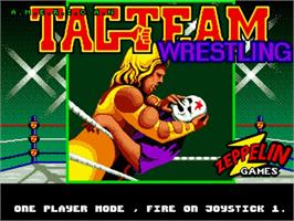 Title screen of American Tag Team Wrestling on the Commodore Amiga.