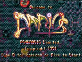 Title screen of Amnios on the Commodore Amiga.