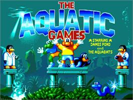 Title screen of Aquatic Games on the Commodore Amiga.