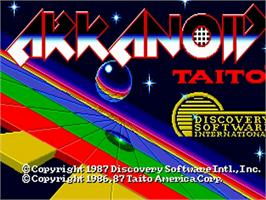 Title screen of Arkanoid on the Commodore Amiga.