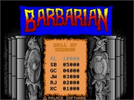 Title screen of Barbarian: The Ultimate Warrior on the Commodore Amiga.