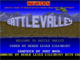 Title screen of Battle Valley on the Commodore Amiga.