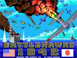 Title screen of Battlehawks 1942 on the Commodore Amiga.