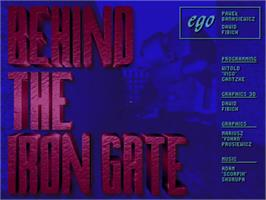 Title screen of Behind the Iron Gate on the Commodore Amiga.