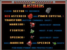 Title screen of Blasteroids on the Commodore Amiga.