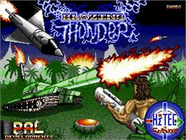 Title screen of Blazing Thunder on the Commodore Amiga.