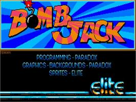 Title screen of Bomb Jack on the Commodore Amiga.