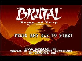 Title screen of Brutal: Paws of Fury on the Commodore Amiga.