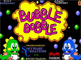 Title screen of Bubble Bobble on the Commodore Amiga.
