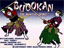 Title screen of Budokan: The Martial Spirit on the Commodore Amiga.