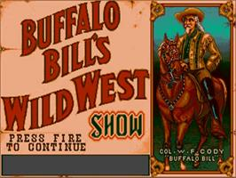 Title screen of Buffalo Bill's Wild West Show on the Commodore Amiga.