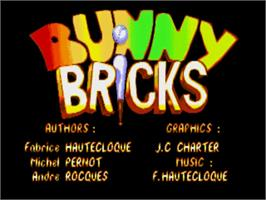 Title screen of Bunny Bricks on the Commodore Amiga.