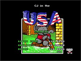 Title screen of CJ In the USA on the Commodore Amiga.