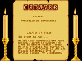 Title screen of Cadaver: The Payoff on the Commodore Amiga.