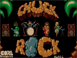 Title screen of Chuck Rock on the Commodore Amiga.