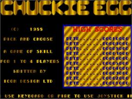Title screen of Chuckie Egg on the Commodore Amiga.