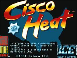 Title screen of Cisco Heat: All American Police Car Race on the Commodore Amiga.