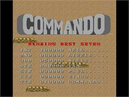Title screen of Commando on the Commodore Amiga.