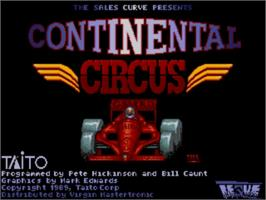 Title screen of Continental Circus on the Commodore Amiga.