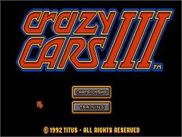 Title screen of Crazy Cars 3 on the Commodore Amiga.