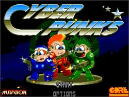 Title screen of CyberPunks on the Commodore Amiga.