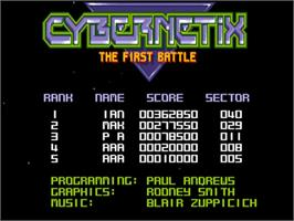 Title screen of Cybernetix on the Commodore Amiga.