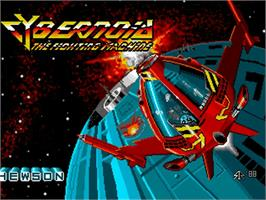 Title screen of Cybernoid: The Fighting Machine on the Commodore Amiga.