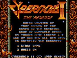 Title screen of Cybernoid 2: The Revenge on the Commodore Amiga.